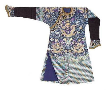 A_fine_blue_silk_ground_embroidered_dragon_robe