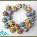 fimo bracelet boules fleuries 2