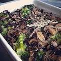 Gratin brocolis champignons