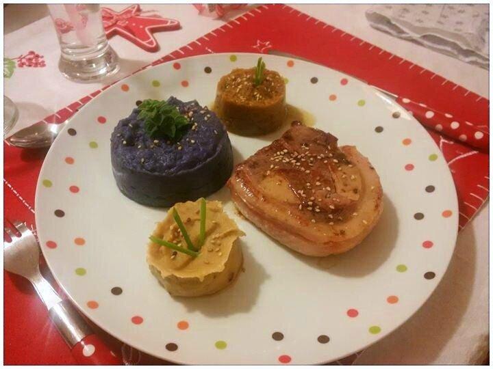 Tournedos de Canard fourré au Foie Gras, Trio de Purées colorées