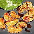 Foies de lotte et clémentine poêlés déglacés sauce soja