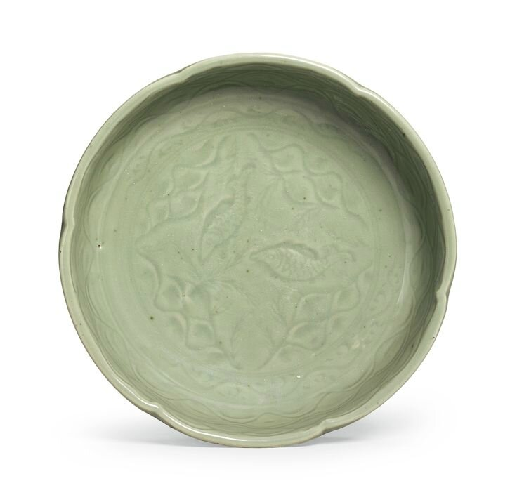 A rare 'Longquan' celadon lobed 'Twin Fish' basin, Early Ming dynasty
