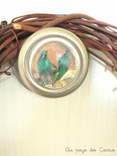 Cabochon oiseaux de poignee de porte Au pays des Cactus