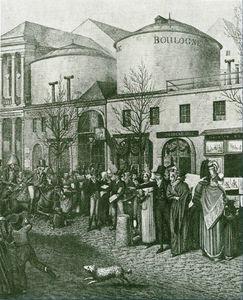 Scene de rue devant le passage, lithographie de Opitz, 1814