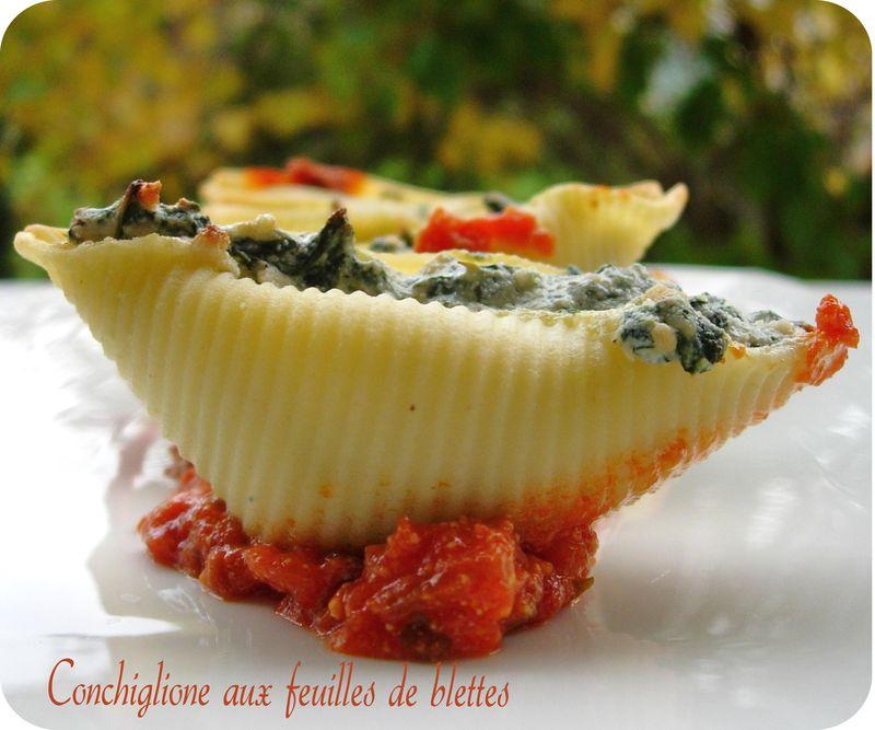 Conchiglione farcis aux feuilles de blettes cuisine et - Comment cuisiner des feuilles de blettes ...