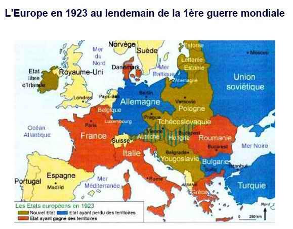 carte europe 1918