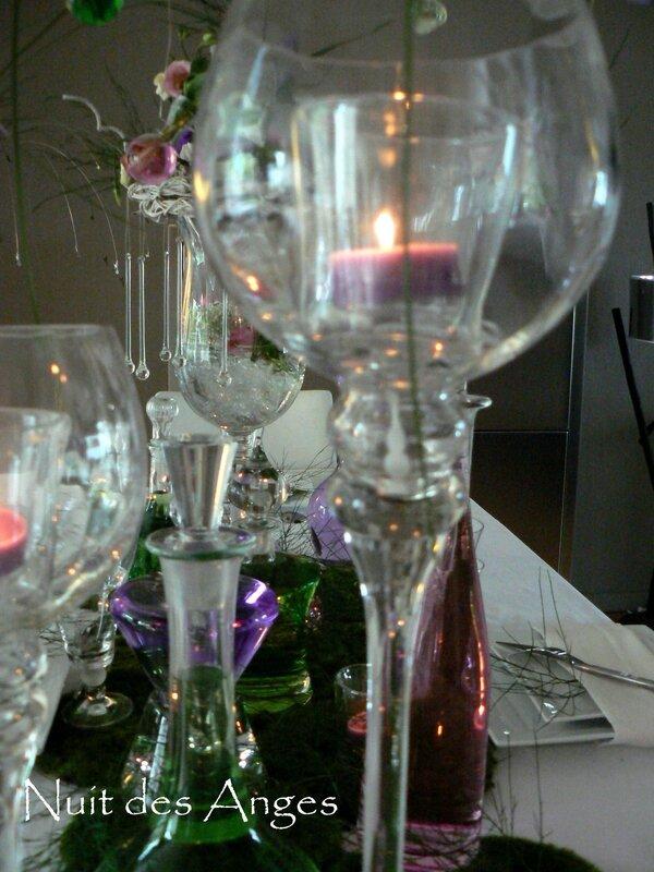 Nuit des anges décoratrice de mariage décoration de table rose et vert 012