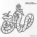Coloriage lombric - lombricompostage - Lombric humoristique