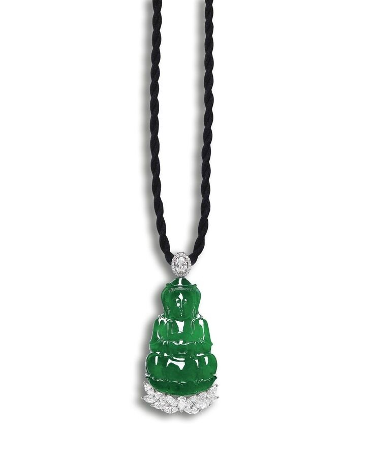 Fine Jadeite 'Guan Yin' and Diamond Pendant