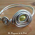 Bracelet vert anis et aluminium argenté