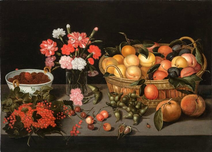 Pieter Binoit, Apricots in a woven basket, carnation in a glass vase, raspberries in a Wan-Li bowl, with redcurrants,...