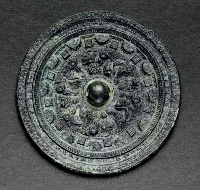 A bronze circular mirror, Three Kingdoms period (AD 220-265)