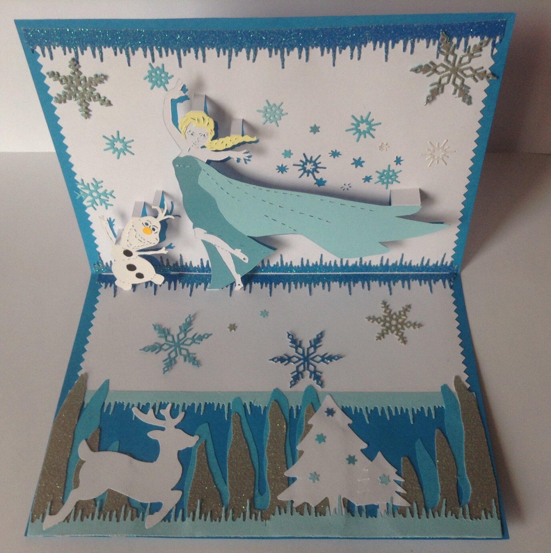 kirigami carte anniversaire la reine des neiges kirigami mes travaux en papier. Black Bedroom Furniture Sets. Home Design Ideas
