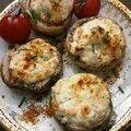 Champignons farcis-fromage frais-crevettes