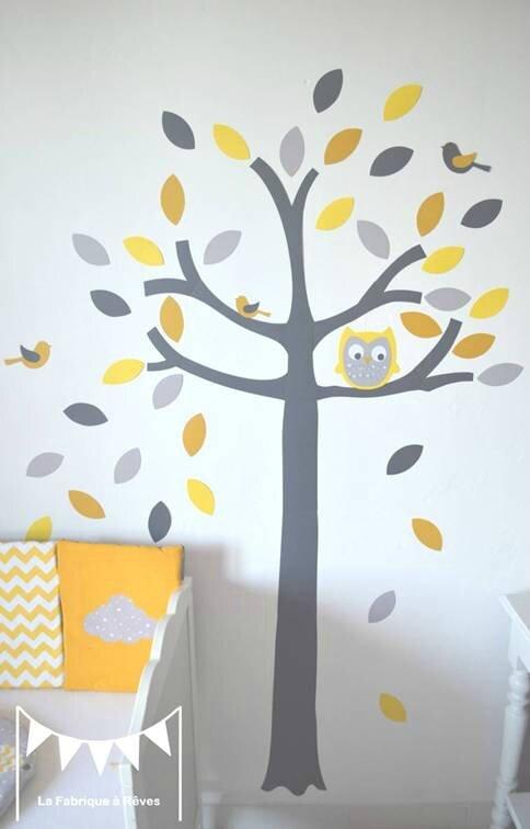stickers arbre jaune gris blanc oiseaux hibou décoration chambre bébé