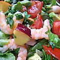 Salade saveur nectarines - crevettes - menthe