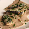 Ravioli topinambour et sarrasin, sardines au yuzu