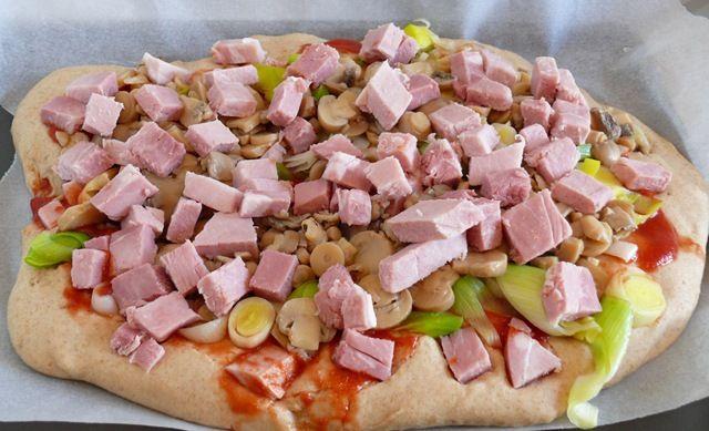 pizza moelleuse poireaux jambon chignons cuisine