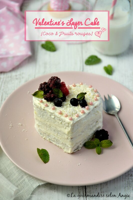 vegan 1 layer cake fruits rouges coco saint valentin