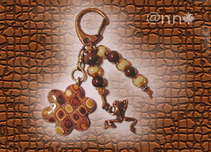 Bijou de sac fleur multi beige orange grenouille cuivre (N)