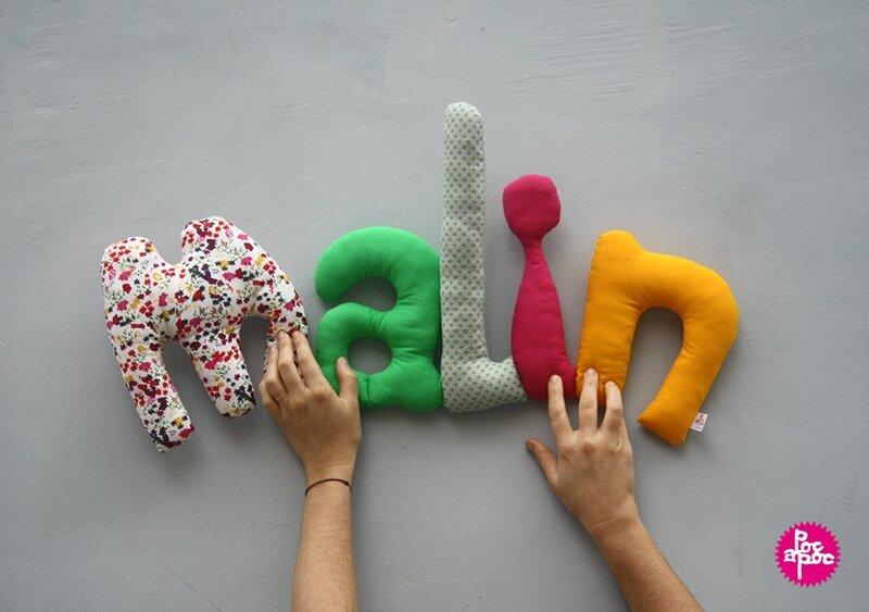 malin,mot en tissu,mot decoratif,cadeau de naissance,decoration chambre d'enfant,cadeau personnalise,cadeau original,poc a poc blog