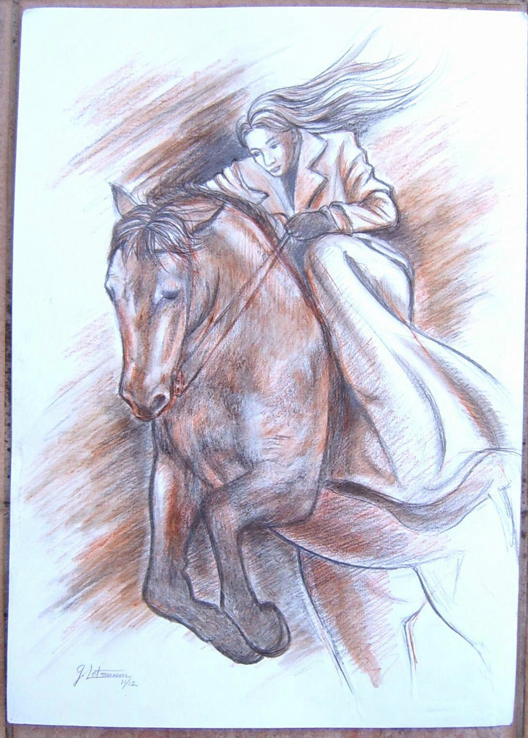 saut cheval cavali re amazone dessin ghislaine letourneur jump on horseback rider. Black Bedroom Furniture Sets. Home Design Ideas