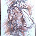 Saut à cheval - cavalière amazone dessin Ghislaine Letourneur - Jump on horseback Rider sidesaddle