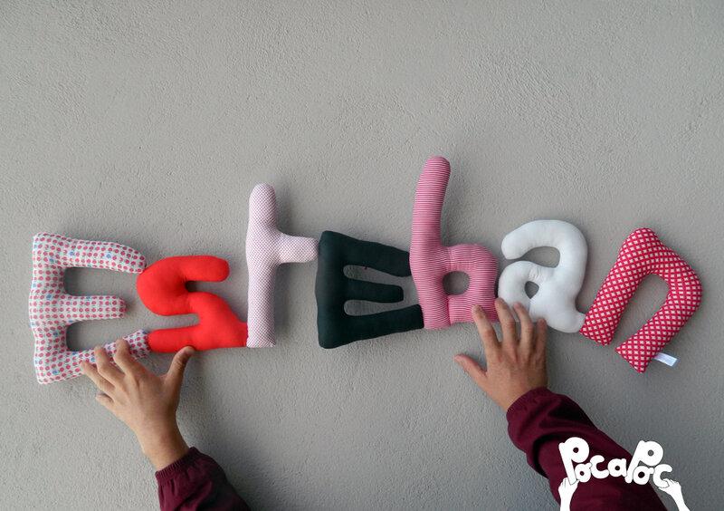 esteban mot en tissu,mot decoratif,cadeau de naissance,decoration chambre d'enfant,cadeau personnalise,cadeau original,poc a poc blog