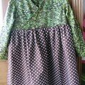 robe Enora de Citronille pour Matilda, liberty wiltshire berry vert et popeline chocolat  pois