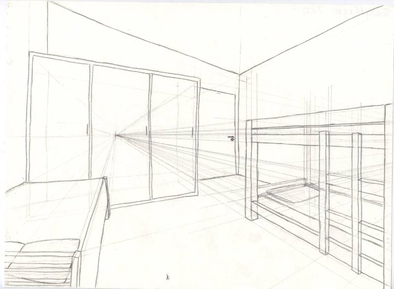 Dessins mlle reinette for Chambre en perspective lineaire
