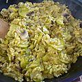 Risotto au safran, champignons de paris et courgette