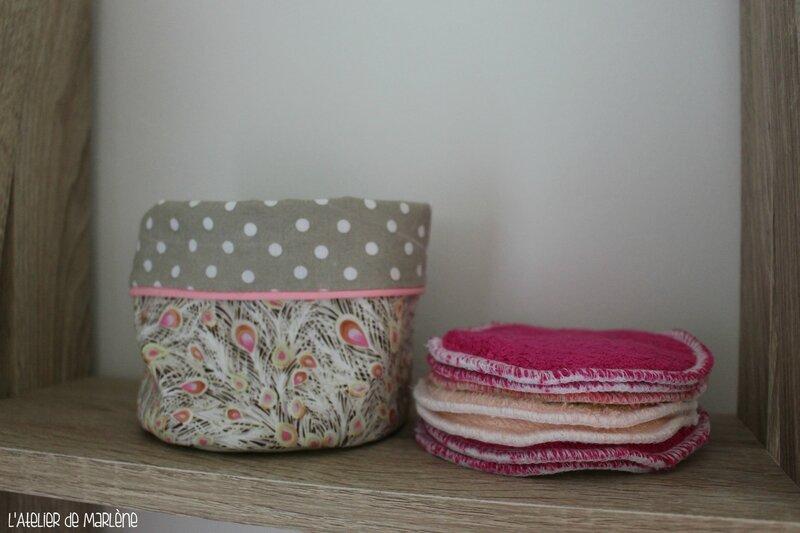 Lingettes démaquillantes lavables taupe et rose