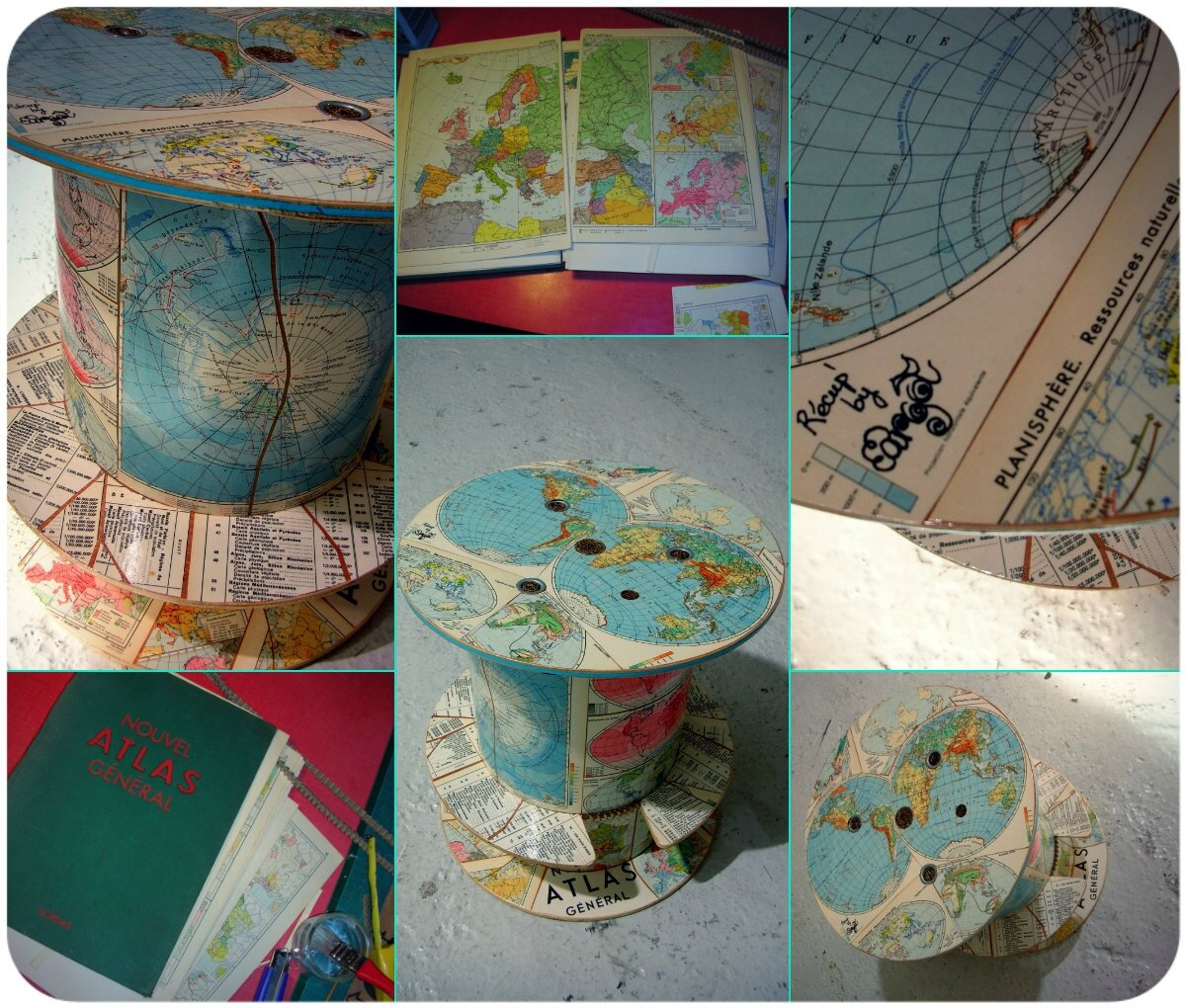 Le touret atlas collage d 39 un vieil atlas de 1958 photo de les tourets l 39 atelier r cup - Que faire avec un touret ...