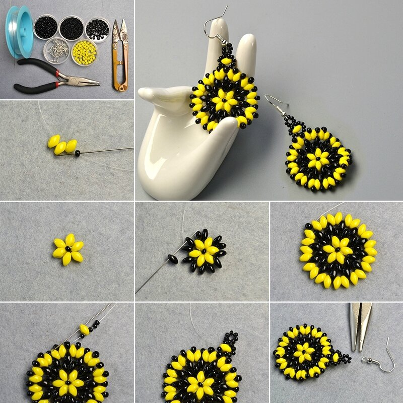 1080-Pandahall-Tutorial-on-How-to-Make-2-Hole-Seed-Beads-Flower-Earrings