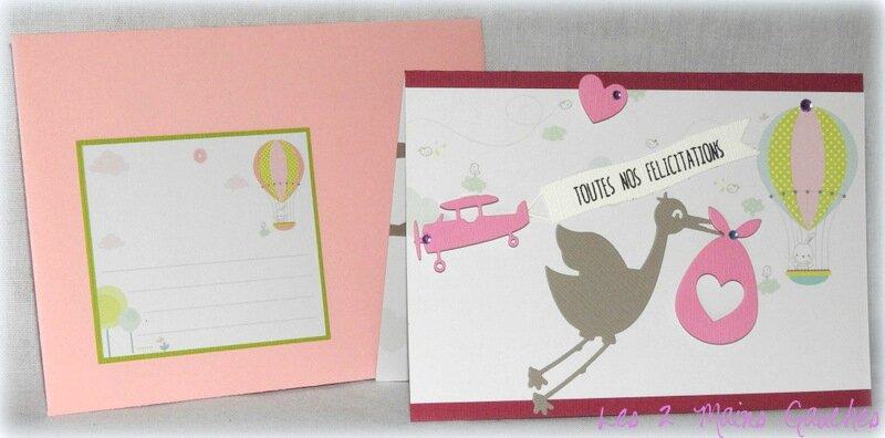 carte de naissance fille avec cigogne, montgolfière et avion