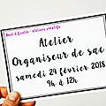 Atelier couture organiseur de sac - samedi 24 février