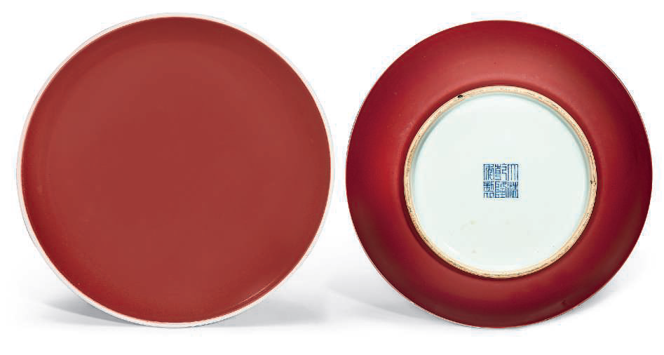 Two copper red-glazed dishes, Qianlong six-character seal marks in underglaze blue and of the period (1736-1795)