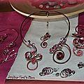 Commande de parures collier bracelet boucles d'oreilles barrette et pic a chignon