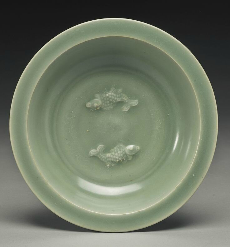 A 'Longquan' celadon 'Twin Fish' dish, Song Dynasty