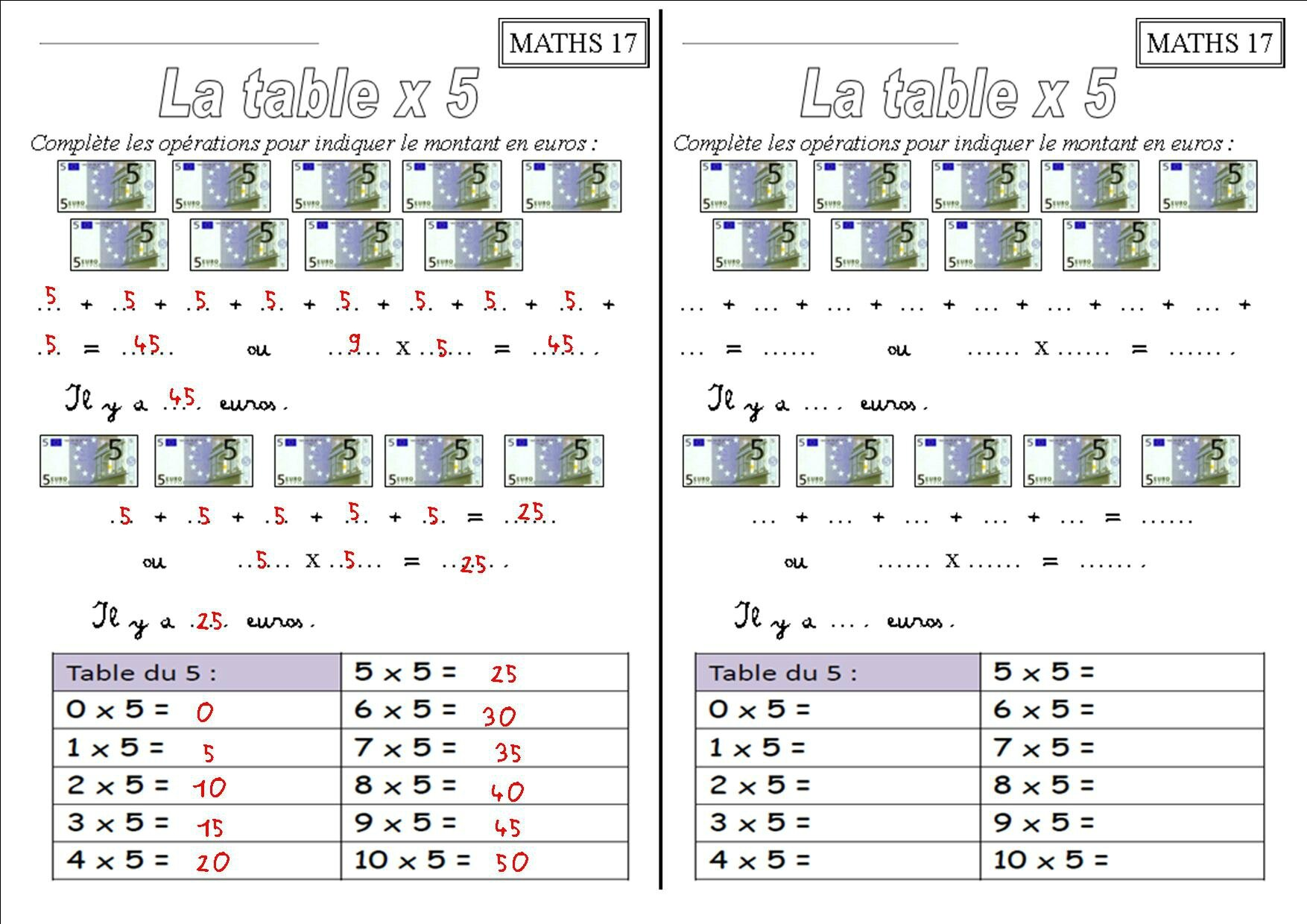 Les tables de multiplication ce1 x 2 x 3 x 4 x 5 x for Table de multiplication 5