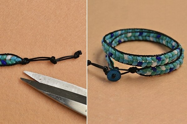 Pandahall Instruction on How to Make Leather Cord Wrap Bracelet with 2-hole Seed Beads (6)