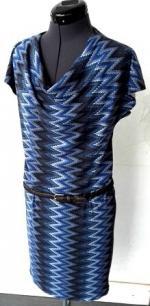 robe col bénitier bleu zigzag 2 pw