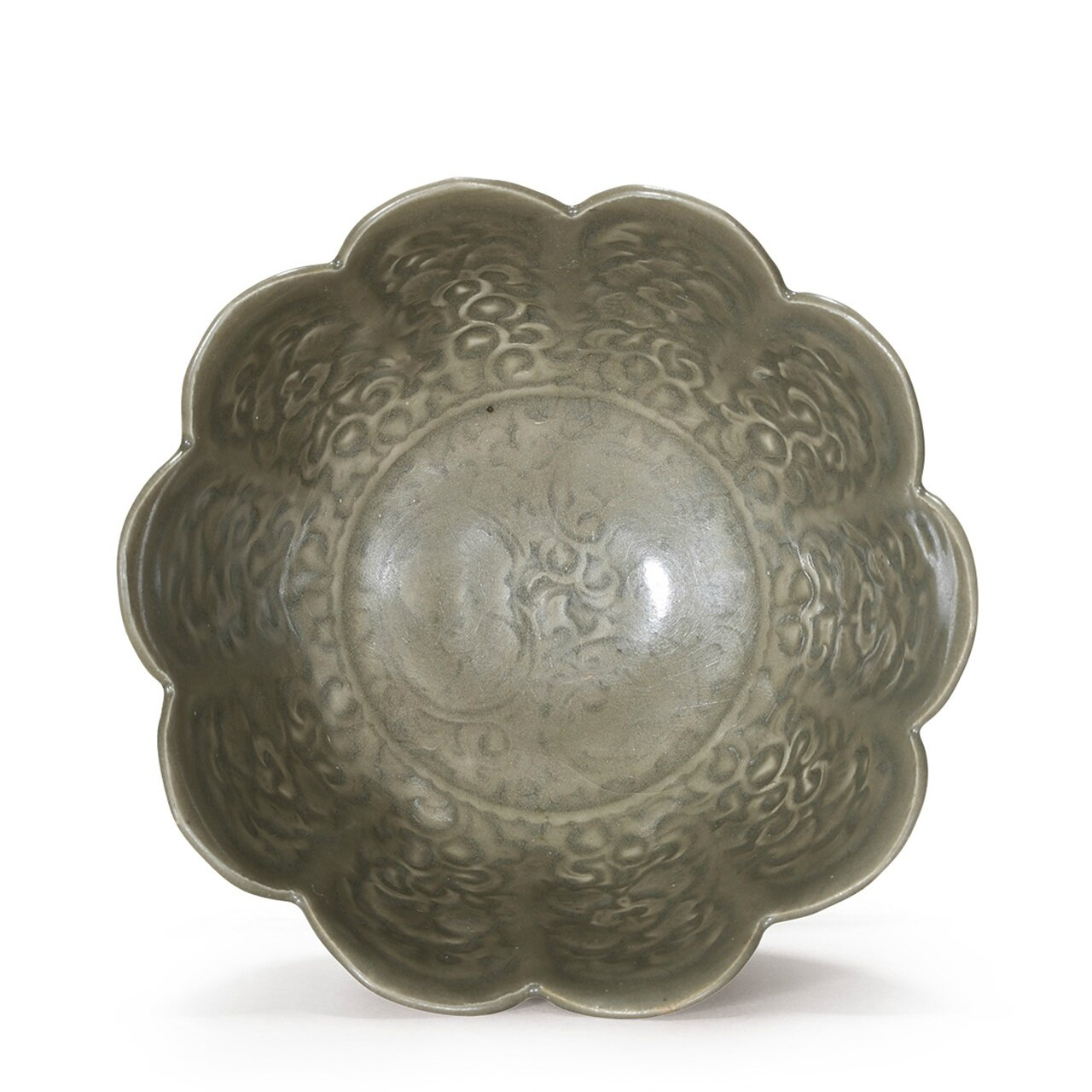 An extremely rare Yaozhou molded floral bowl, Song Dynasty (AD960-1279)