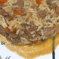 Wok de steak haché au légumes et cacahuètes.