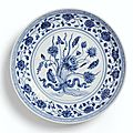 A blue and white 'lotus bouquet' dish, ming dynasty, yongle period (1403-1425)