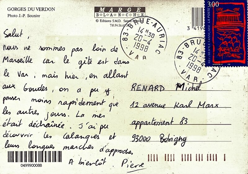 carte postale Pierrot avril 1998 verso