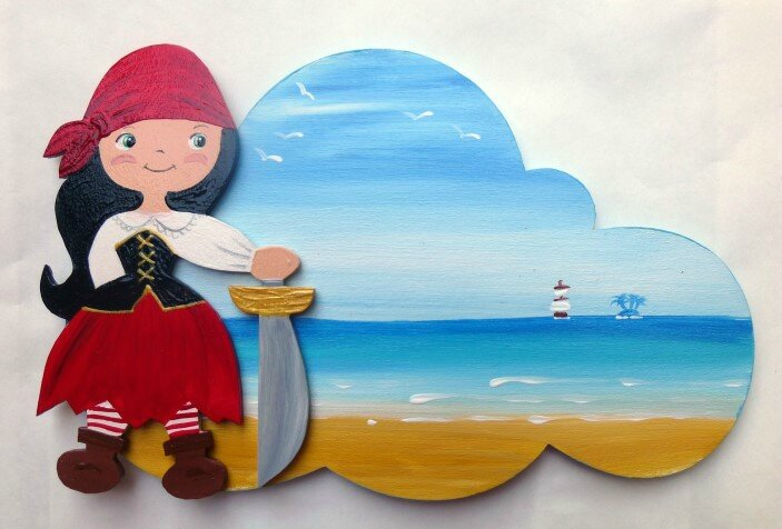 plaque de porte pirate fille