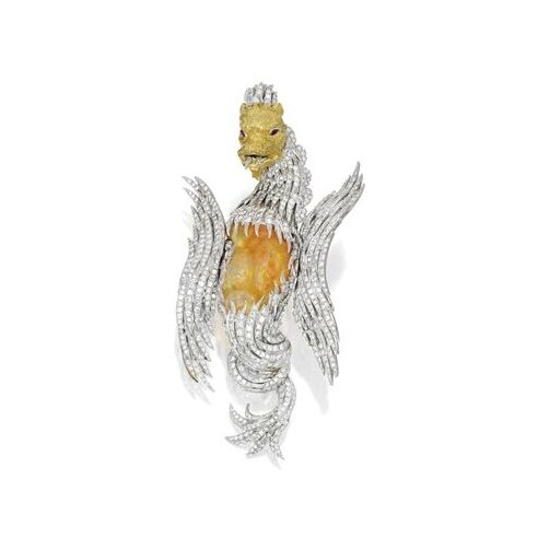 18 Karat Two-Color Gold, Fire Opal, Diamond and Ruby 'Griffin' Brooch, Buccellati