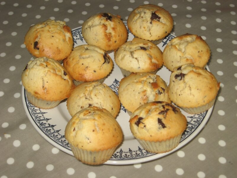 Muffins aux pépites de chocolats noir et blanc