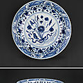A rare and large blue and white 'Lotus' dish. Ming Dynasty, Yongle (1403-1425)